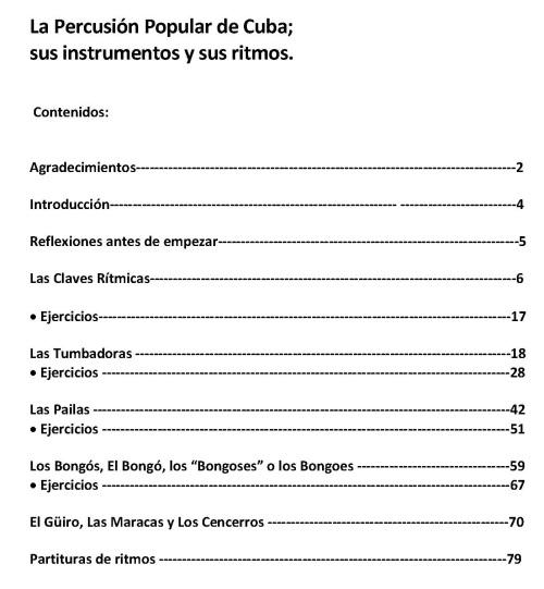 La Percusión Popular de Cuba CONTENIDOS